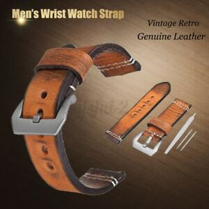 22/24 mm Genuine Leather Wrist Watch Strap Vintage Retro Thick Band Men's