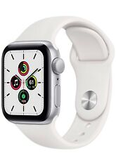 Apple Watch SE (GPS, 40mm, Silver Aluminum, White Sport Band)