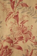 Fabric antique French pink Lily tulip grey gray printed cotton material 1860