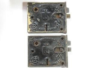 Pair Antique BLW Door Rim Locks Patented 1863 - #9348-1