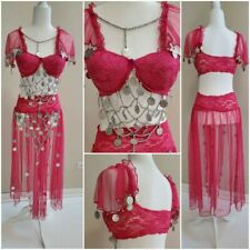 Stretchy 2-piece pink belly dance custom size medium