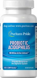 Probiotic Acidophilus Puritan's Pride 100 Capsules Healthy Digestive System