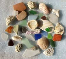 Surf-Tumbled Beach Finds Mix--Pottery Sea Glass Sand China Shells Corals BF24