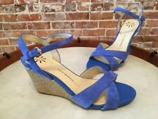 Isaac Mizrahi Blue Suede Crossover Strap Sassy Wedge Sandal NEW