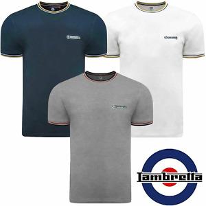 Lambretta Logo Pique T-Shirt Crew Neck Mod Top Mens Size