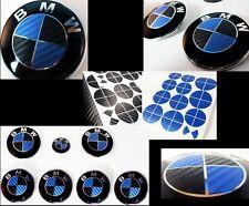 BLACK & BLUE CARBON FIBER Complete Set Vinyl Sticker Overlay All BMW Emblems