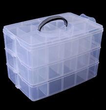 3 Tier Clear Plastic Craft Beads Lego Jewellery Fishing Storage Organiser Comp't