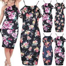 Womens Floral Bodycon Ladies Cami Strappy tunic Ruffle Frill Pencil Midi Dresses