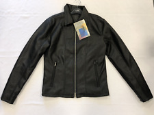 Firetrap Blackseal PU Leather Black Jacket Coat Size Small S *REF6