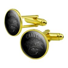 Carved Bass Fish Fishing Hook Round Cufflink Set Gold Color
