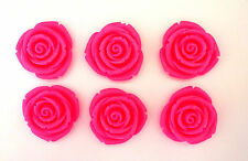 6 x Large Neon Pink Shimmering Rose Flowers 32mm Resin Flatbacks Cabochon