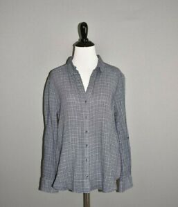 JOIE $178 Erven Plaid Button Down Shirt in Blue Roll Tab Sleeves Small