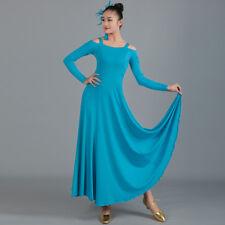 Latin Ballroom Dance Dress Modern Salsa Waltz Standard Long Dress#CB027 5 Colors