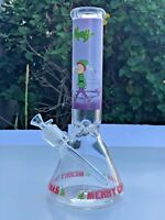 """Hookah Glass Water Pipe Bong Merry Christmas 12"""" Long 7mm   /Ice Catcher"""