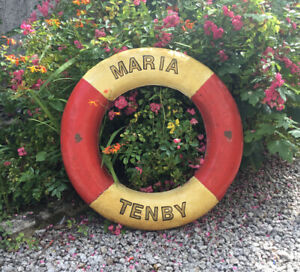 """A GREAT LOOKING OLD ANTIQUE / VINTAGE BOAT LIFE BUOY RING MARIA TENBY WALES 30"""""""