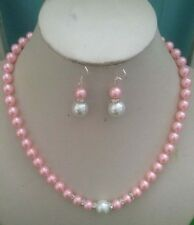 8mm Pink&White South Sea Shell Pearl necklace18 inches Earring Set