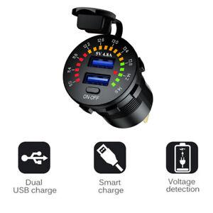 Car Cigarette Lighter Socket Dual 4.8A Dual USB Port Charger Power Outlet LED