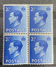 Gb King Edward Viii Keviii Defins 2&1/2d (1936) Block Of 4 Mnh