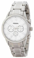 Fossil Men's Small Flyn Silver Tone Stainless Steel Chronograph Bracelet Watch