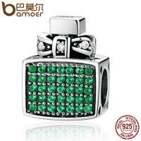 Bamoer European S925 Sterling Silver Green CZ charm perfume bottle fit Bracelets