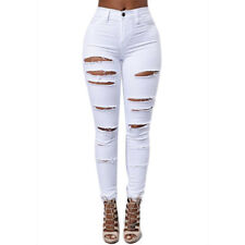 Womens Skinny Ripped Denim Jeans Pants High Waisted Stretch Slim Pencil Trousers