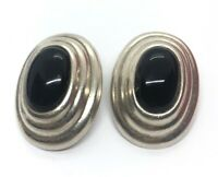 Vintage Sterling Silver Earrings 925 TP-121 Modernist Taxco Mexico Clip On Onyx