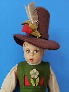 """Estate find 9"""" Antique painted-eyed Lenci doll in colorful outfit"""
