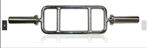 """OLYMPIC TRICEP BAR SOLID STEEL 2"""" HEAVY 10.3 KGS NEW 2 FREE SPRING COLLARS"""