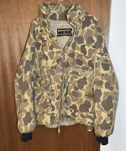 VINTAGE GAMEHIDE INSULATED CAMO DUCK HUNTING JACKET XXL WITH HOOD