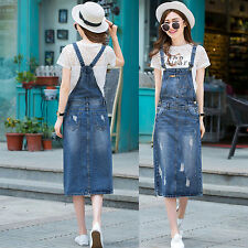 2017 Women Casual Denim Strap Dungaree Dress Jeans Overalls Straight Skirts