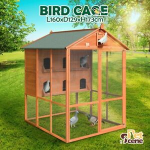 Petscene XL Wood Bird Cage 2-Storey Aviary Pigeon Budgie Canary Parrot Pet Cage