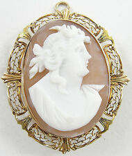 Pendant Pin Filigree Facing Right Vintage Gold Filled Carnelian Shell Cameo
