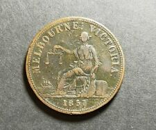 Melbourne Vic 1857 Hide & DeCarle Groceries & Wine Merchants Eliz.St Token(KY57)