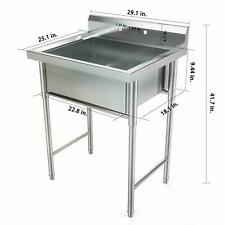 "30"" Stainless Steel Utility Commercial Square Kitchen Sink for Restaurant Home"