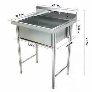 """30"""" Stainless Steel Utility Commercial Square Kitchen Sink for Restaurant Home"""