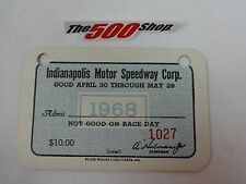 1968 Indianapolis Motor Speedway Indy 500 Season Gate Pass Ticket Credential