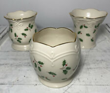 Set of 3 Lenox Holiday Dimension Votive Candle Holders Holly Ivory & Gold