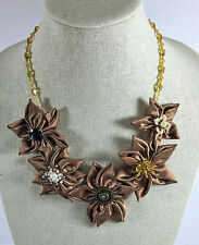 Fabric Floral Statement Necklace Satin Light Brown Crystal Daisy Adjustable New