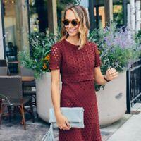 Ann Taylor Copper Rust Tulip Crochet Lace Short Sleeve Sheath Dress Size 4