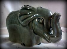 "New Elephant Vase or Table Decor, Distressed Gray Paint 4.5""x7"""