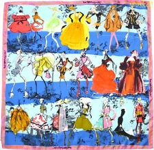 CHRISTIAN LACROIX pink border HAPPY ANNIVERSARY COUTURE blue silk scarf NWT Auth