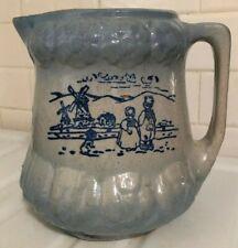 Antique c1800's Dutch Blue White Salt Glazed Stoneware Milk Water Pitcher