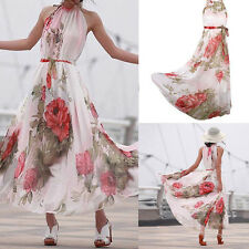 Women's Boho Chiffon Long Maxi Dresses Evening Party Beach Dress Floral Sundress