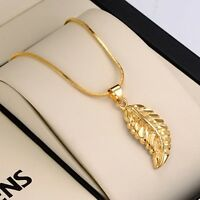 """Charms Jewelry 18K Yellow Gold Filled feather Pendant Necklace 18"""" Chain"""