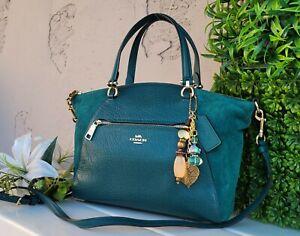 Coach 79999 Buffalo Leather Suede Prairie Satchel Viridian Green purse crossbody