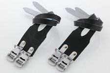 New Atozi Double Leather Straps & Pedal Toe Clips Set Bike Bicycle Cycle - Black