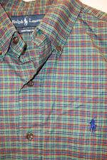 Polo Ralph Lauren Custom Fit Soft Twill Green Orange Blue Plaid Shirt XXL 89 NWT