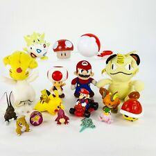 Nintendo 17pc LOT Mario Kart Pikachu Mushroom Plush Figures Pokemon Ball Toys