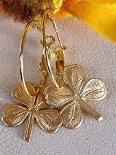 Gold Raw Brass Four Leaf Clover Lever Back Hoop Earrings. Shamrock. Lucky. Irish