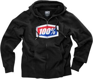100% MX Motocross OFFICIAL Zip-Up Sweatshirt Hoody (Black) Choose Size